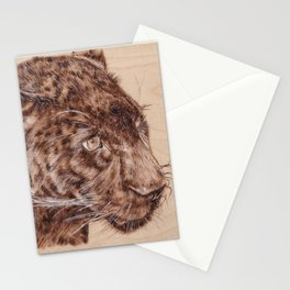 Black Panther Portrait - Drawing by Burning on Wood - Pyrography Art Stationery Cards