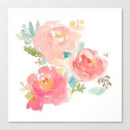 Watercolor Peonies Summer Bouquet Canvas Print