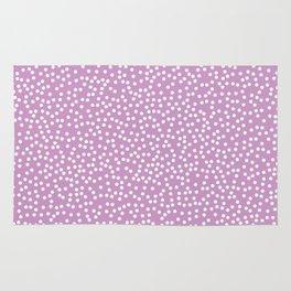 Lavender and White Polka Dot Pattern Rug