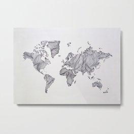 Whimsical Topography World Map Art Metal Print