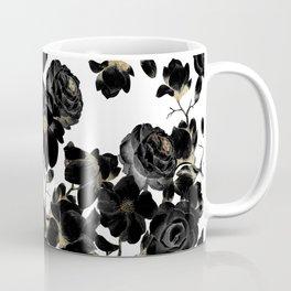 Modern Elegant Black White and Gold Floral Pattern Coffee Mug