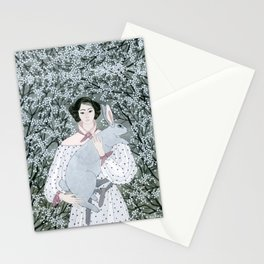 Girl and rabbit among flowers Stationery Cards