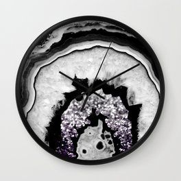 Gray Black White Agate with Purple Black Silver Glitter #1 #gem #decor #art #society6 Wall Clock