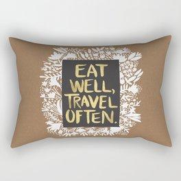 Eat Well, Travel Often (on Kraft) Rectangular Pillow