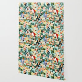 Floral and Pin Up Girls II Pattern Wallpaper