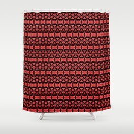 Dividers 02 in Red over Black Shower Curtain