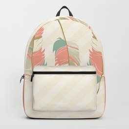 Coral and Mint Green Feathers and Stripes Backpack