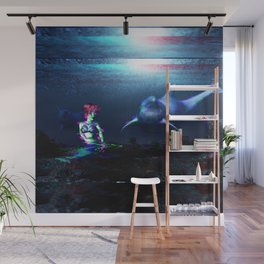 Glitch dolphins and mermaid Wall Mural