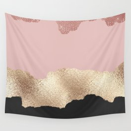 Rose Gold Glitter Black Pink Abstract Girly Art Wall Tapestry