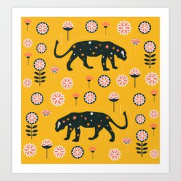 Fantastic jaguars and flowers Art Print