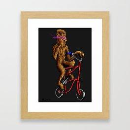 Bigfoot High-up on his Tallbike Framed Art Print