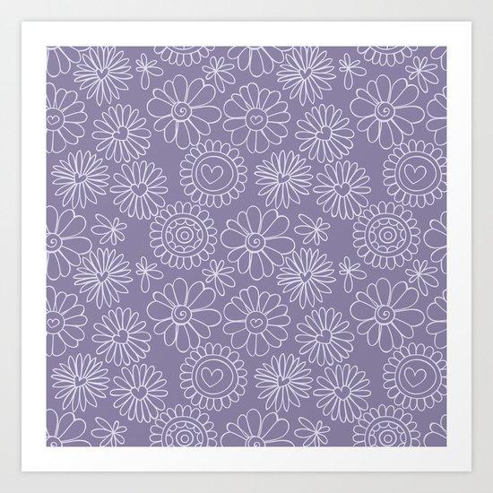 Violet doodle floral pattern Art Print