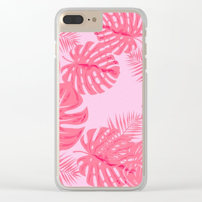 Tropical flamingo pink leaves Clear iPhone Case