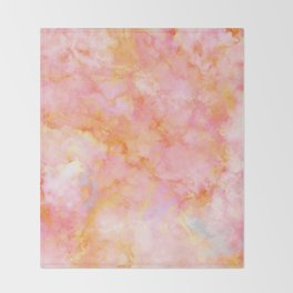 Rosé and Sunny Marble - pink, coral and orange Throw Blanket