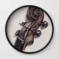 violin Wall Clocks featuring violin by Buffy Ino Kua