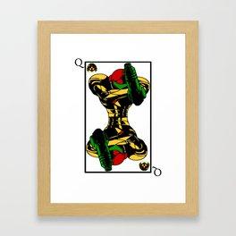 samus playing card queen Framed Art Print