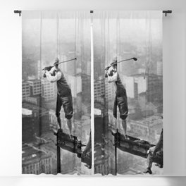 Tough Par Four - Golf Game at 1000 feet black and white photograph Blackout Curtain