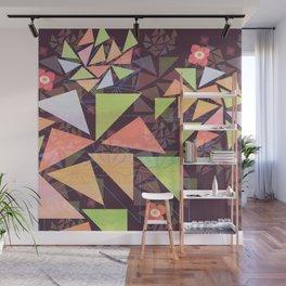 Geometric Leaves in orange Wall Mural