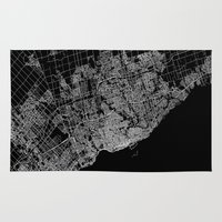 toronto Area & Throw Rugs featuring toronto map by Line Line Lines