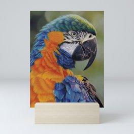The Blue-Throated Macaw, A Realistic Pastel Artwork Mini Art Print
