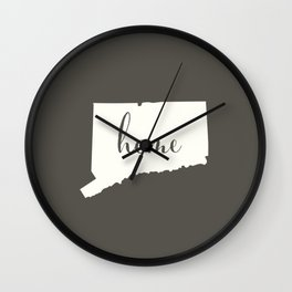 Connecticut is Home - White on Charcoal Wall Clock