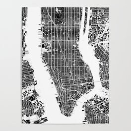 New York city map black and white Poster