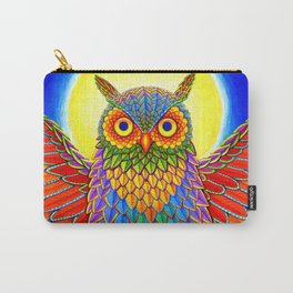 Colorful Rainbow Owl Carry-All Pouch