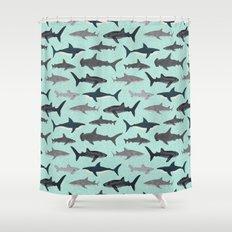 Sharks nature animal illustration texture print marine biologist sea life ocean Andrea Lauren Shower Curtain