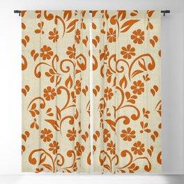 """Orange Flowers & Natural Texture"" Blackout Curtain"