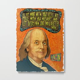 Benjamin Franklin Poster - Quote the Famous Metal Print