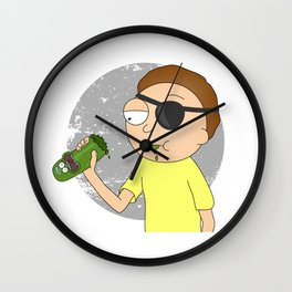Eyepatch Morty eating Pickle Rick Wall Clock