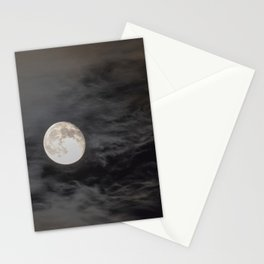 Waning moon and clouds with Saturn Stationery Cards