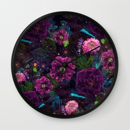Whimsical Watercolor night garden floral hand paint Wall Clock