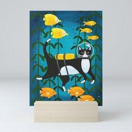Scuba Diving Cat Mini Art Print