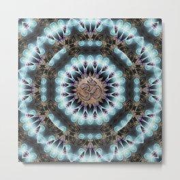 Om Shanti Fractal Geometry [ earthy aqua remix ] Metal Print
