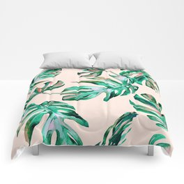 Tropical Palm Leaves Coral Greenery Comforters