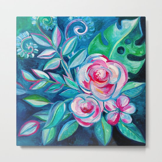Tropical Camellia Extravaganza - oil on canvas Metal Print