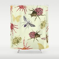 insects Shower Curtains featuring Insects by Stag Prints
