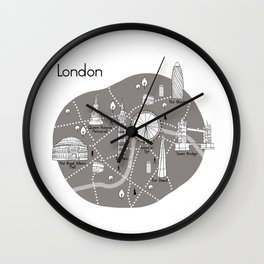 Mapping London -Grey Wall Clock