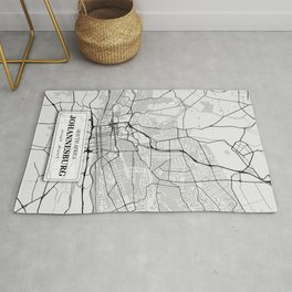 Johannesburg South Africa City Map with GPS Coordinates Rug