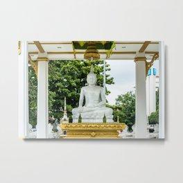 Wat Si Saket White Marble Buddha, Vientiane, Laos Metal Print