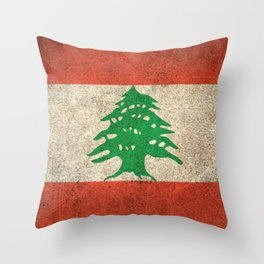 Old and Worn Distressed Vintage Flag of Lebanon Throw Pillow