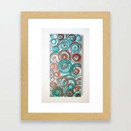 Abstract Green Red Metallic Bronze Circles  Framed Art Print