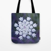 snowflake Tote Bags featuring Snowflake by The Last Sparrow
