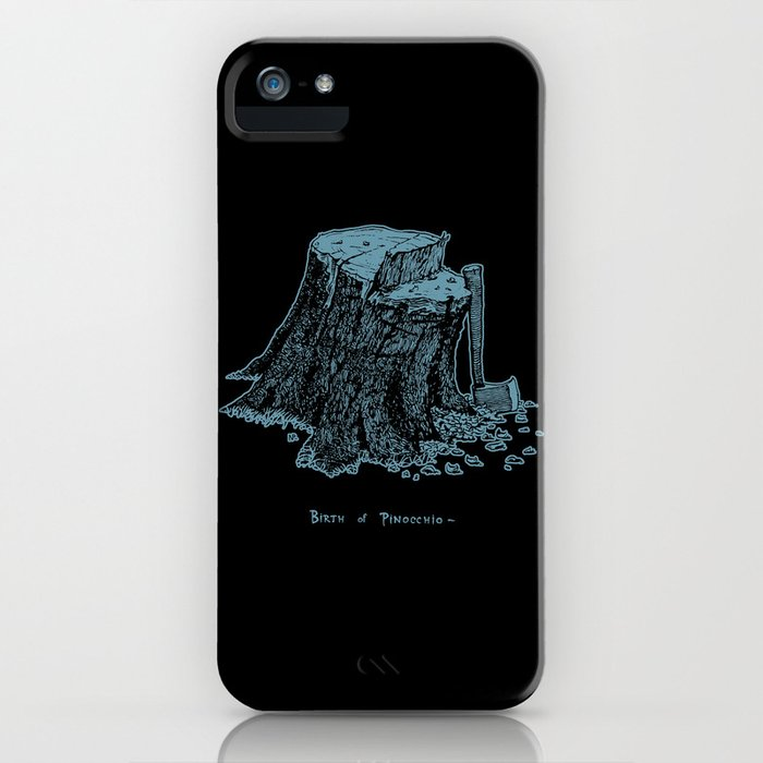 Birth of Pinocchio (black version) iPhone Case