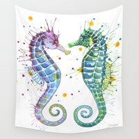 seahorse Wall Tapestries featuring Seahorse by Sam Nagel
