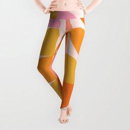 Mid Century Mod Geometry in Pink and Orange Leggings