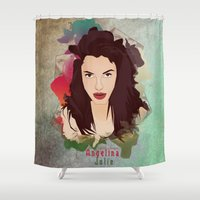 angelina jolie Shower Curtains featuring Aneglia Jolie by ys7ven