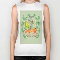sayings Biker Tanks featuring Every Fox...fox, sayings, typography, quote, nature, leaves by Slumbermonkey Designs