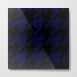 Mightnight Blue & Black Houndstooth/Dogtooth Metal Print